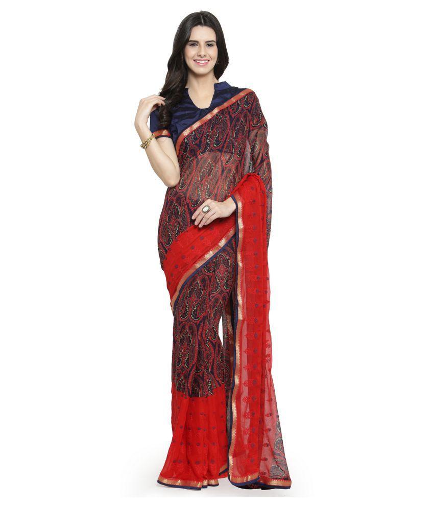 Shaily Retails Red Chiffon Saree