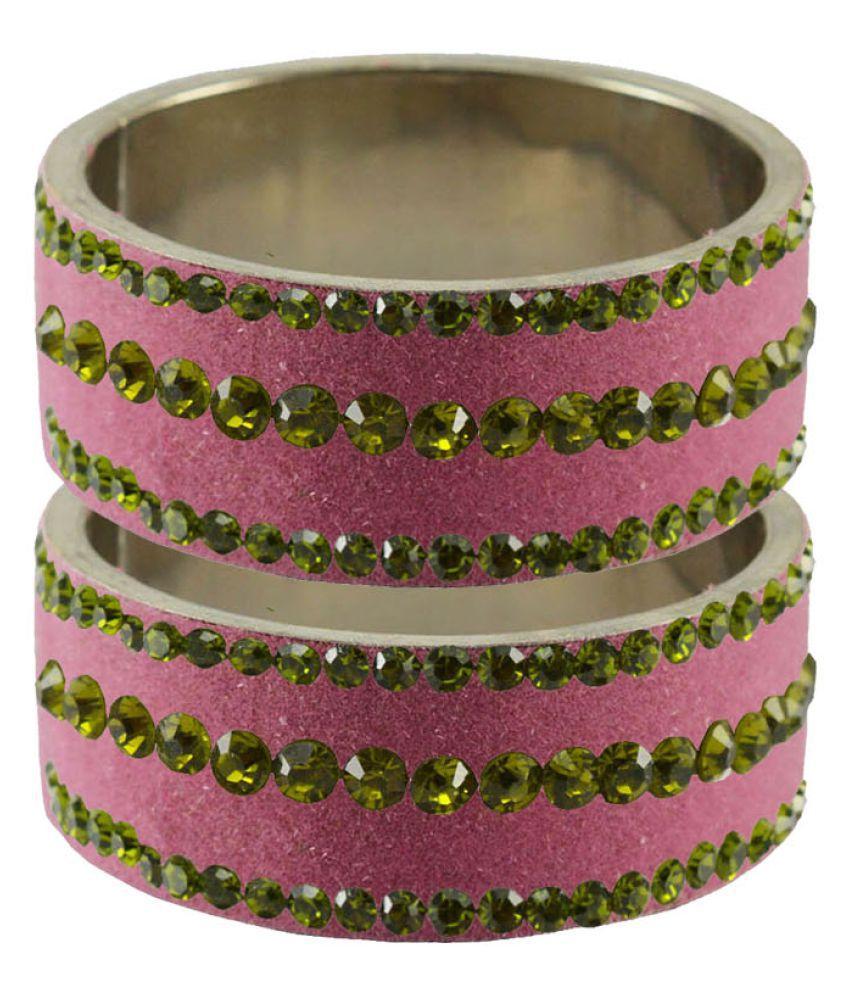 Pink Stone Stud Brass Bangle