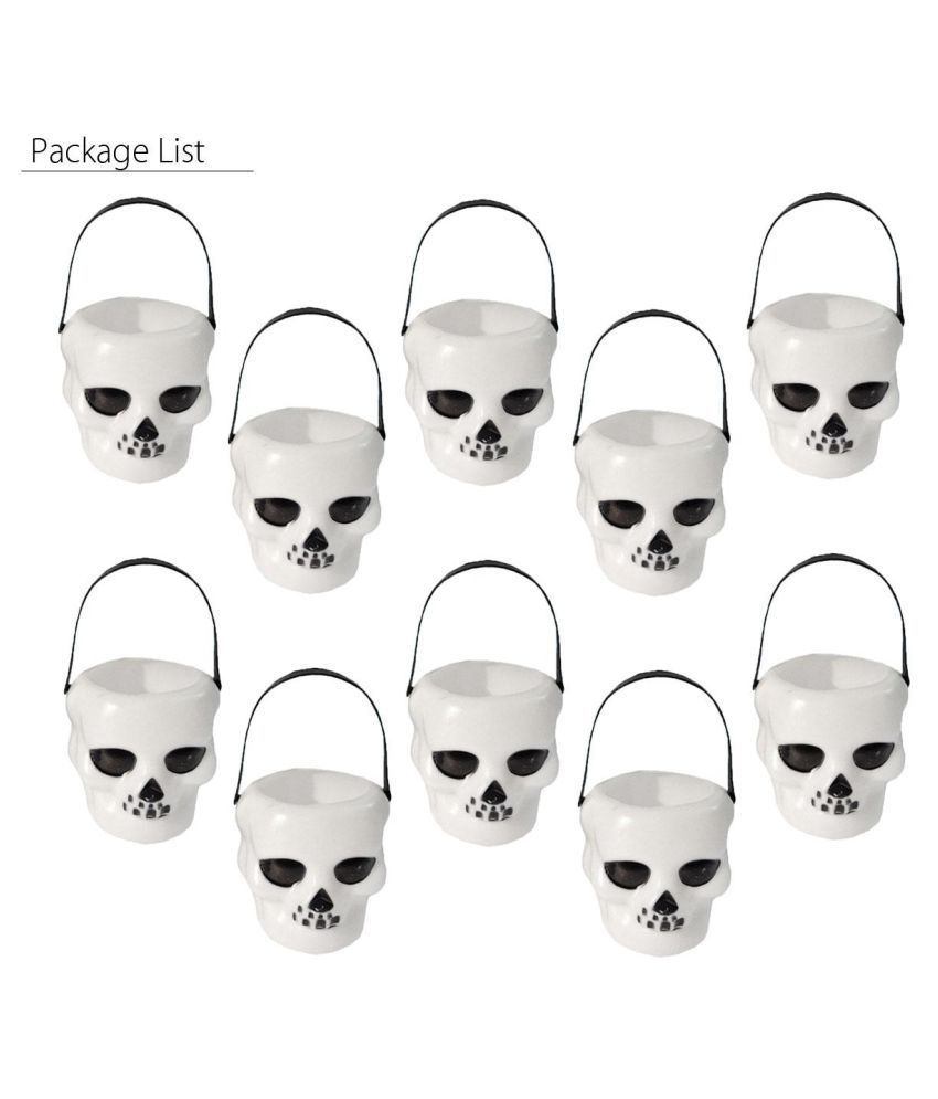 10x Halloween Candy Pot Witch Skull Holder Multi Purposed Plant Box Party Decor