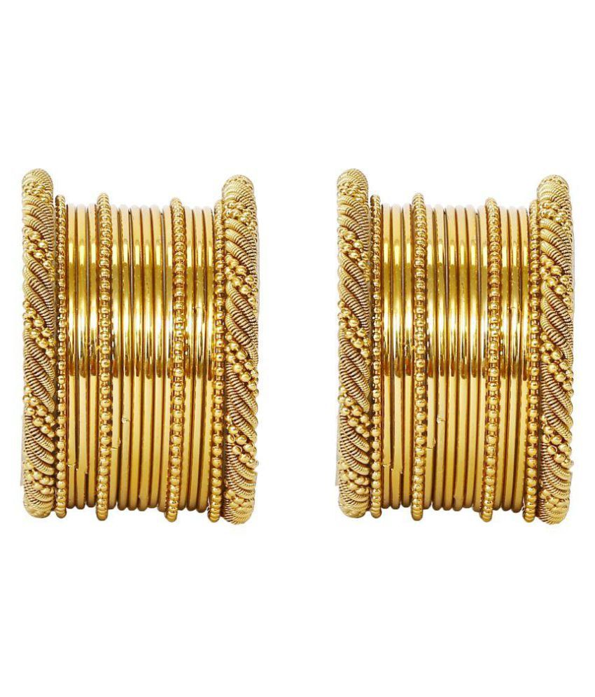 Embroco Gold Plated Tradional Partwear Golden Bangle Set For Girls & Womens