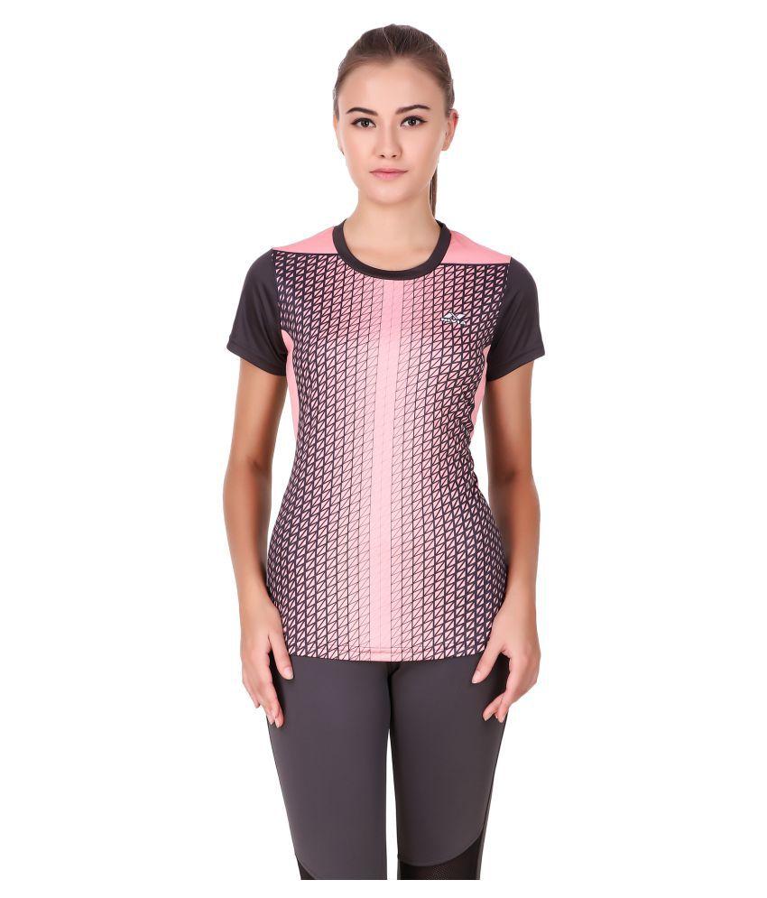 Nivia Geometric Print Women Round Neck Pink T-Shirt