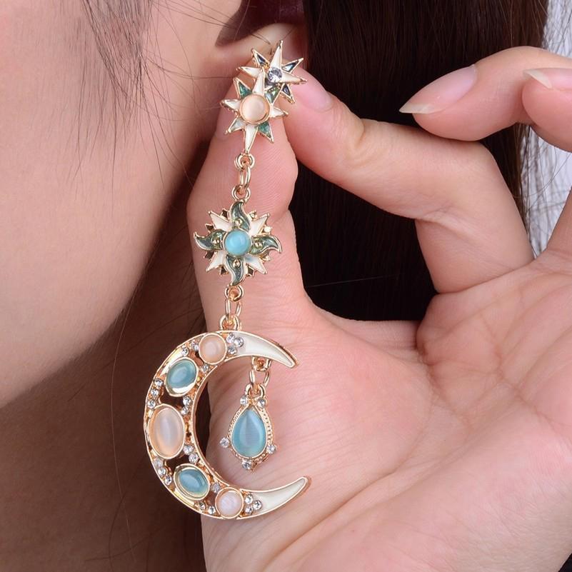 Stylish Trendy Star Sun Moon Rhinestone Crystal Stellar Dangle Earrings for Women Bohemian Jewelry