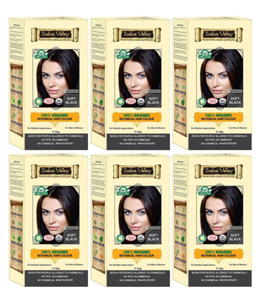 Indus Valley 100% Botanical Hair Colour For Sensitive Skin Semi Permanent Hair Color Black 720 gm Pack of 6