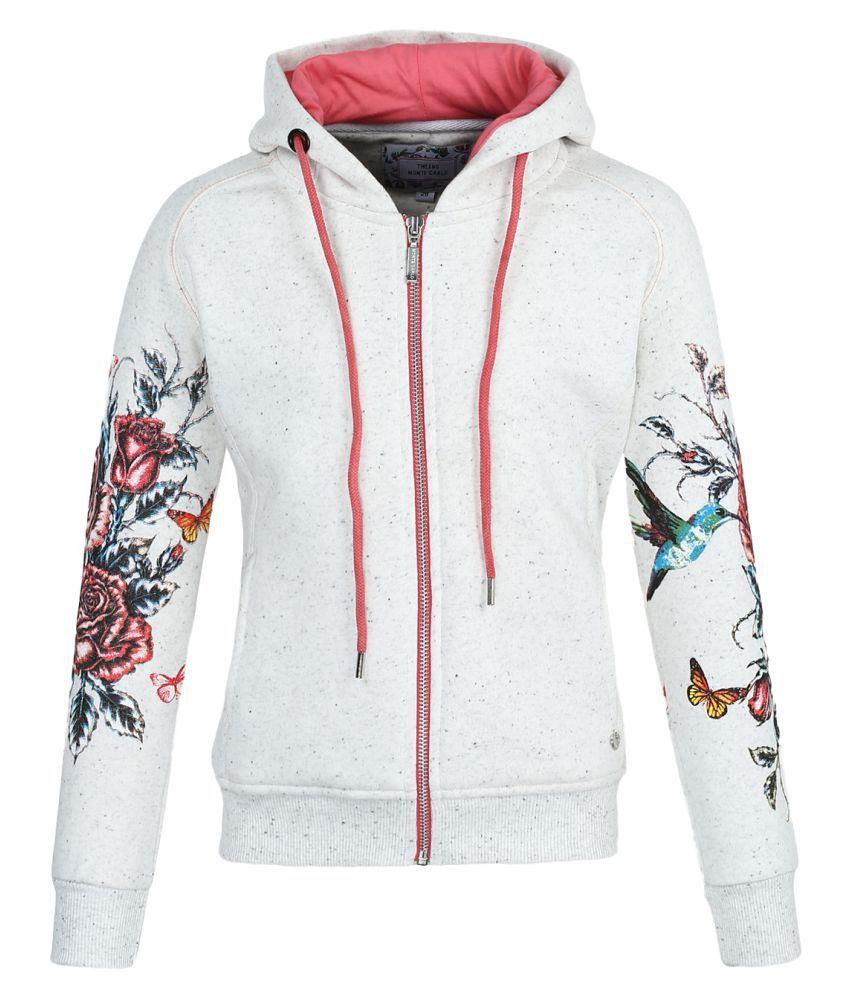 Monte Carlo Off White Printed Cotton Hood Sweatshirts