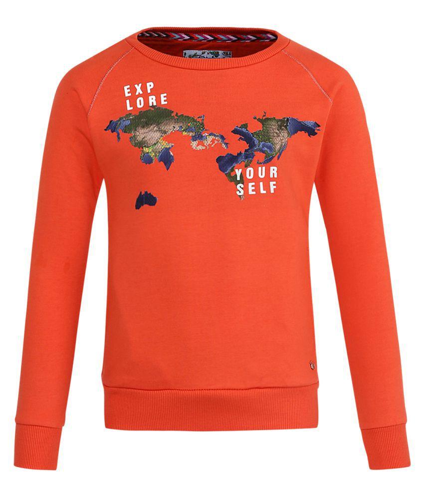 Monte Carlo Orange Printed Cotton Round Neck Sweatshirts