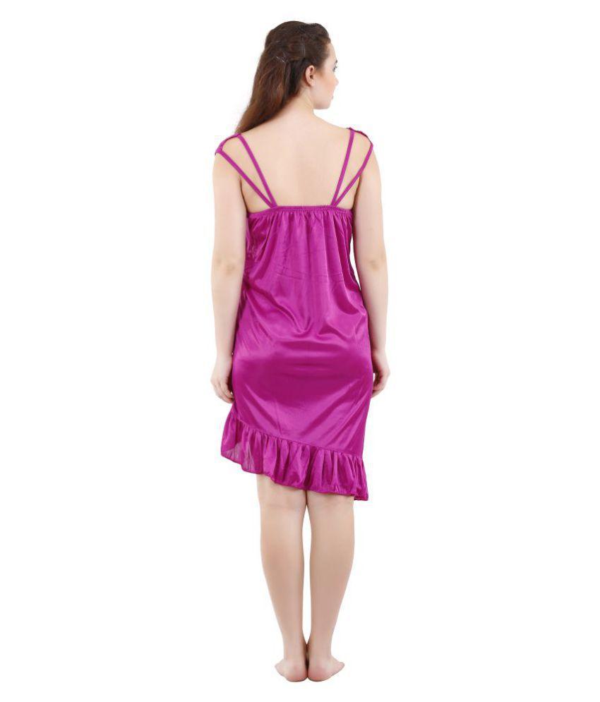 42e759eaa3 Buy Romaisa Satin Nighty & Night Gowns - Purple Online at Best ...