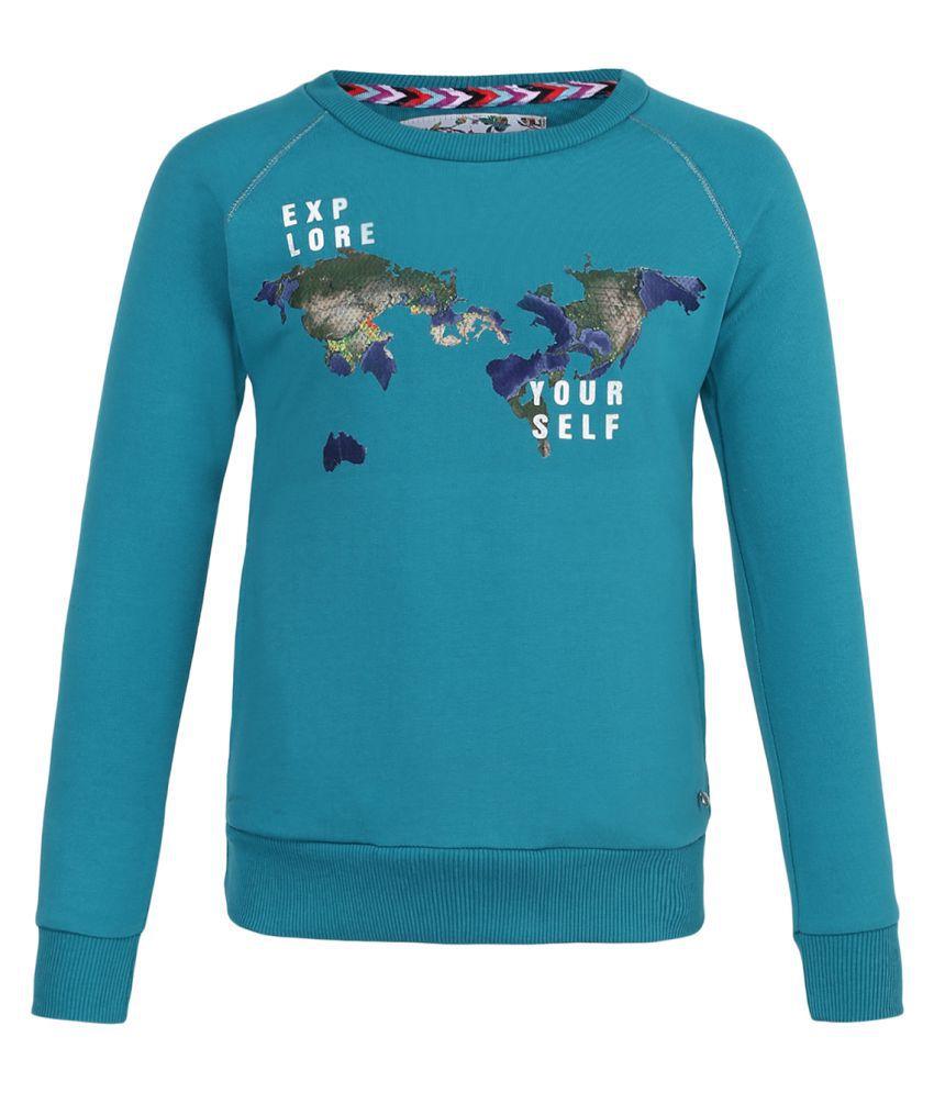 Monte Carlo Blue Printed Cotton Round Neck Sweatshirts