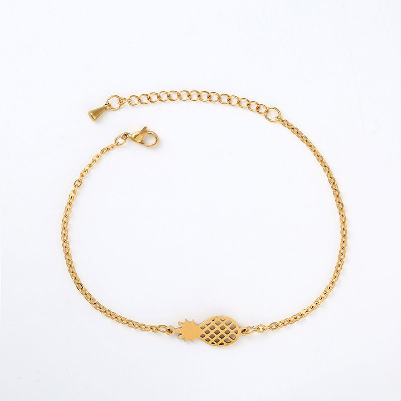 YOLO Fashion ElectroPlated Hollow Three-diMensional Pineapple Pendant Fruit Bracelet Jewellry Accessories
