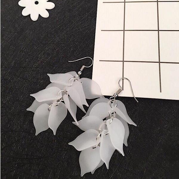 Trendy Ear Drop Earrings Leaves The Morning Glory Tassels Dangle Earrings Cute Jewelry for Women