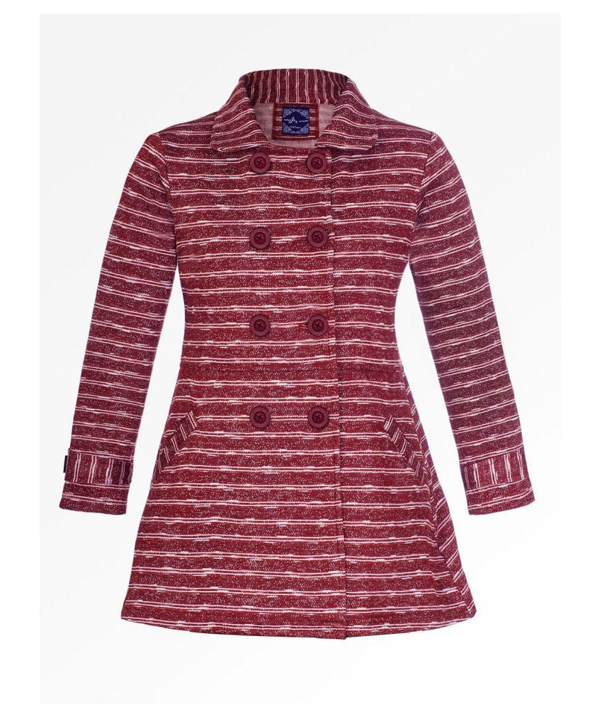 Naughty Ninos Girls Red Stripe Fleece Front Open Striped Jacket Girl Coat