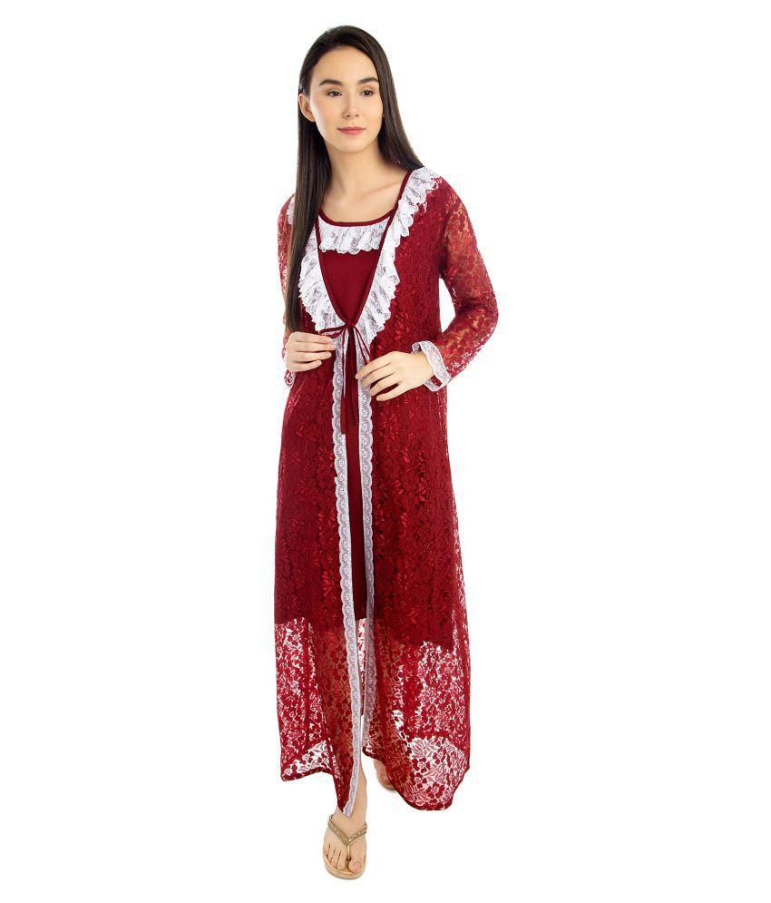 Patrorna Modal Nighty & Night Gowns - Maroon