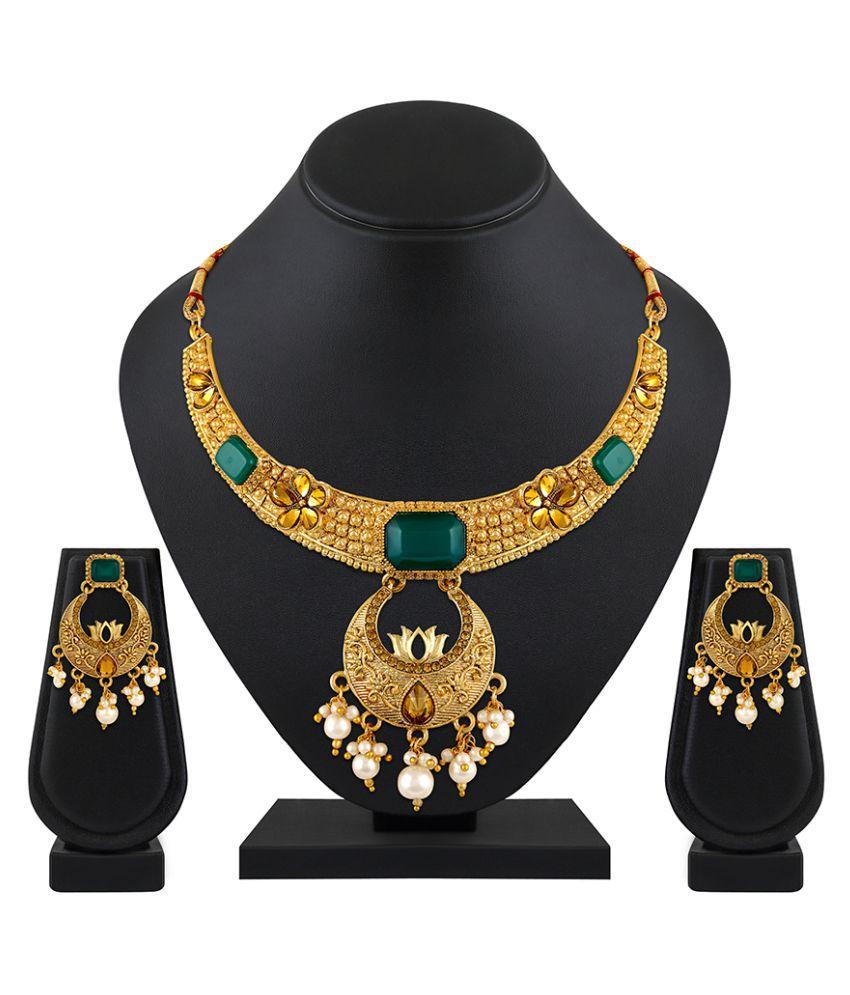 bf0f78b5b55 Asmitta Jewellery Zinc Green Choker Traditional Gold Plated Necklaces Set -  Buy Asmitta Jewellery Zinc Green Choker Traditional Gold Plated Necklaces  Set ...