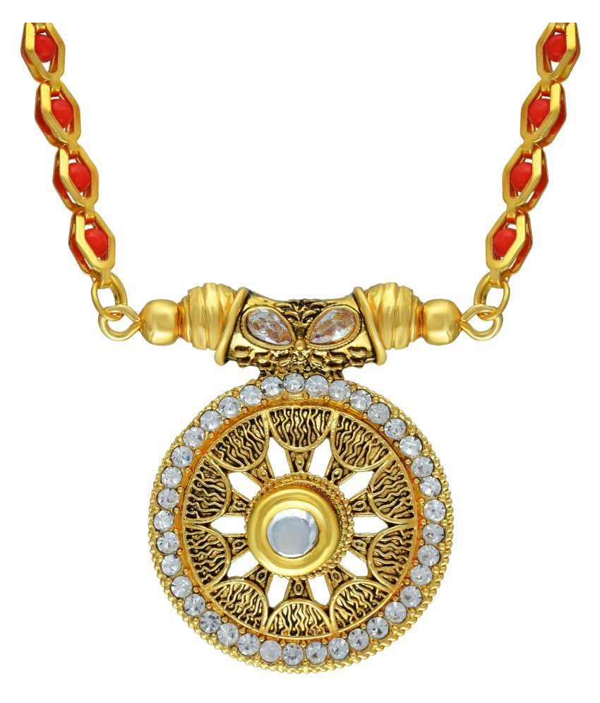 DzineTrendz Gold Plated Brass, CZ and Round Shaped Handmade Carving, Red Colour Beaded,Super Long 38 Inch,Traditional Mangalsutra Women Ethnic