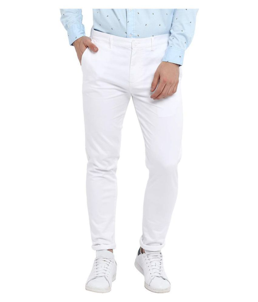 Disha White Regular -Fit Flat Trousers