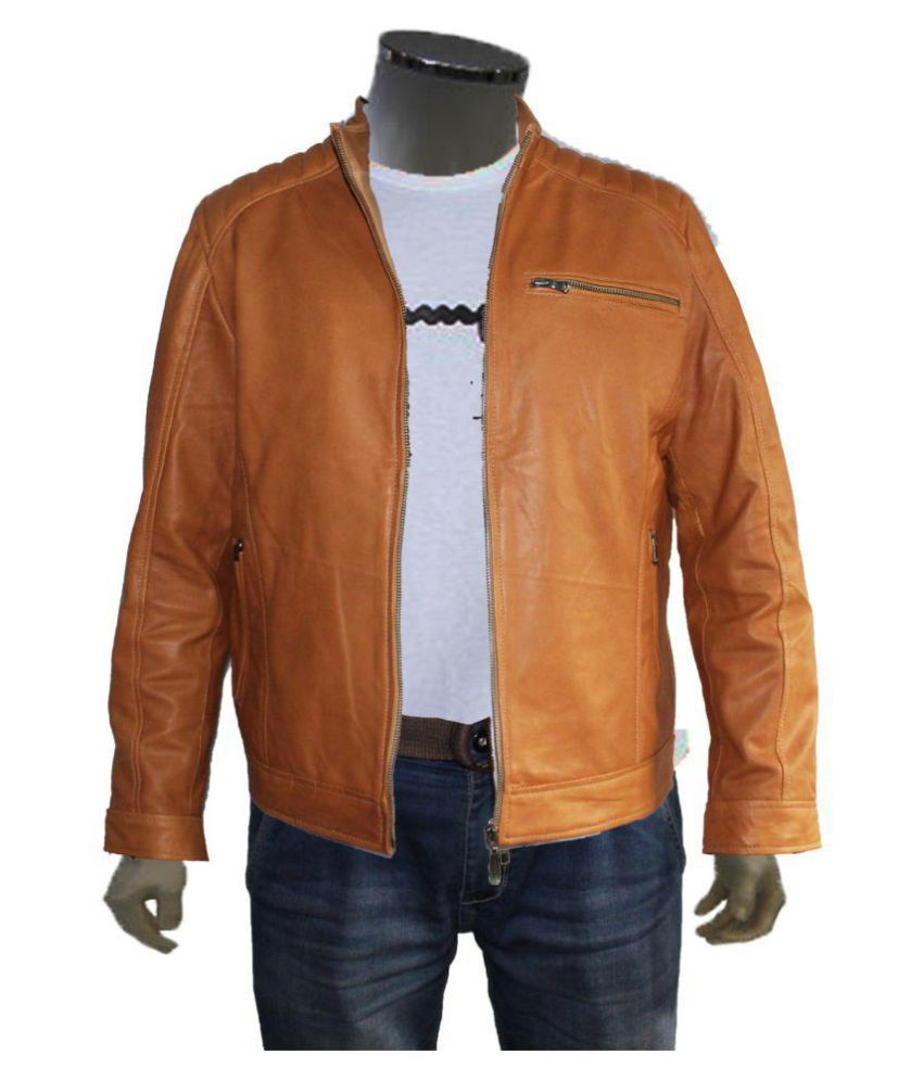 new products 51d64 31b2a conbipel Brown Leather Jacket