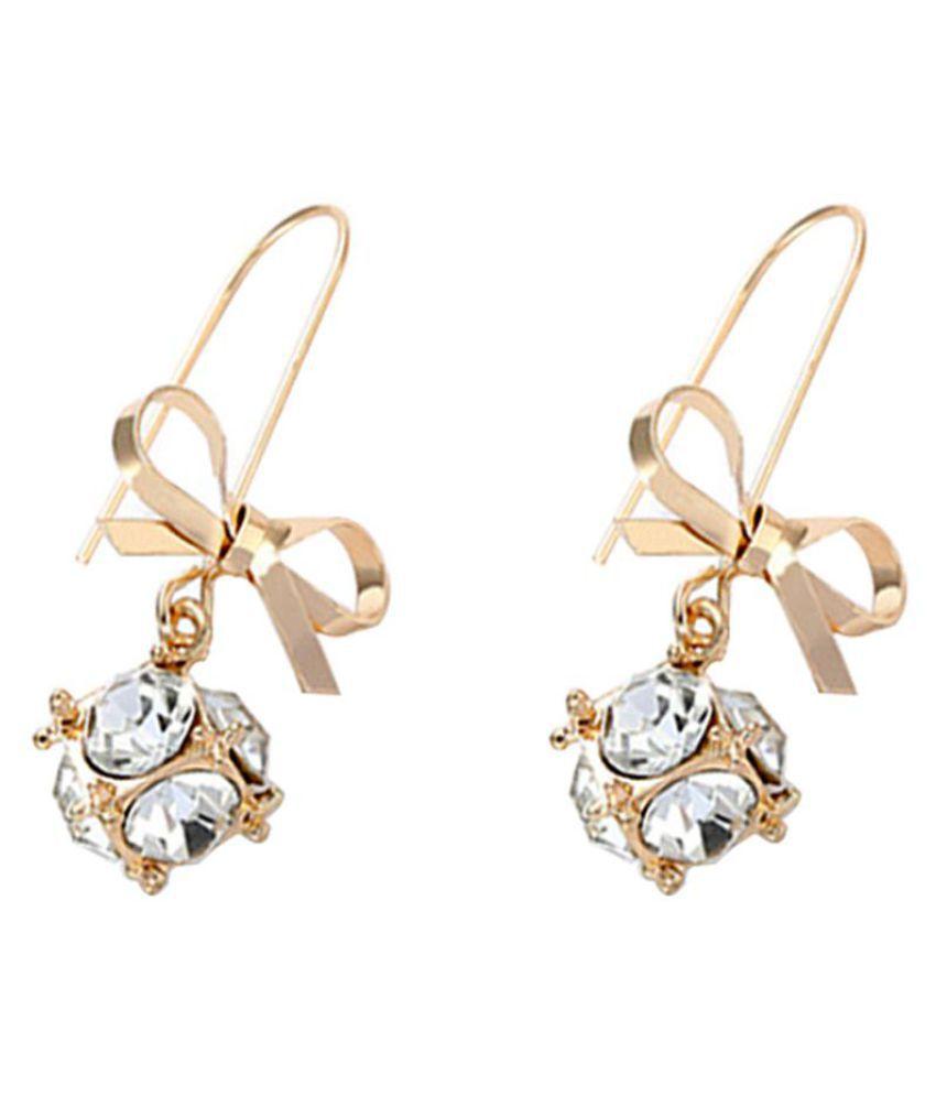 Fashion Women Bow Shiny Rhinestones Ball Dangle Hook Earrings Party Jewelry Gift