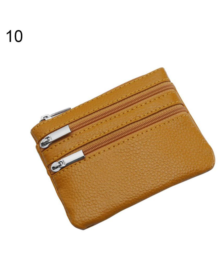 Solid Color Genuine Leather Women Card Coin Purse Mini Wallet Bag with Key Ring