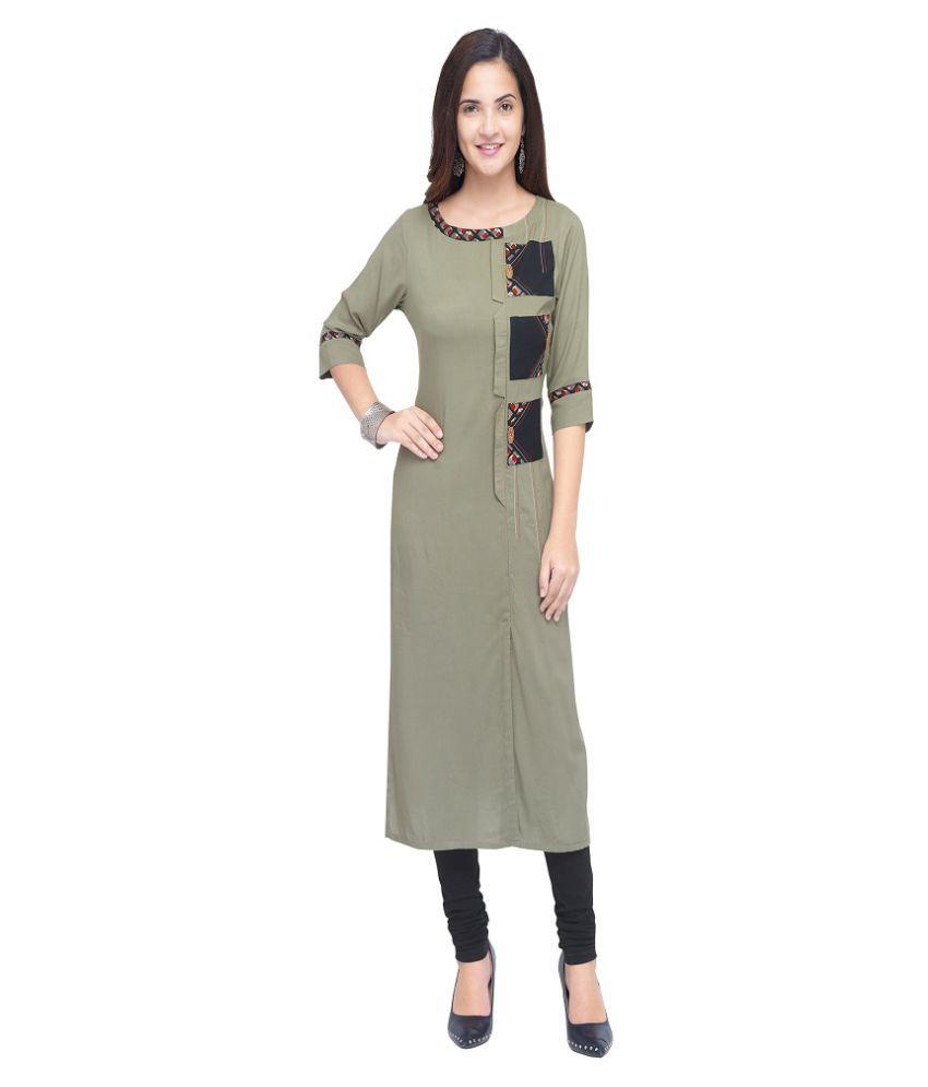 Pervious Fashion Grey Rayon A-line Kurti