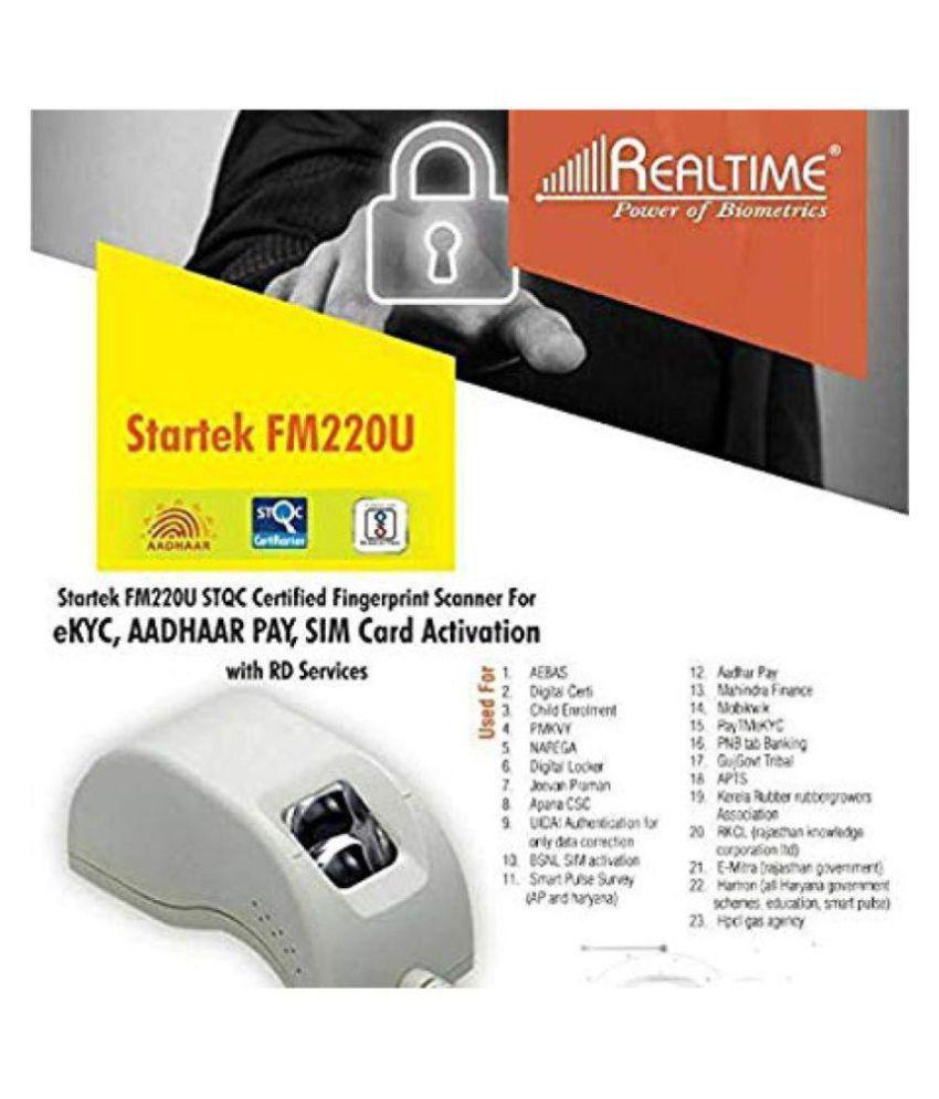 Realtime Startek FM220U Biometric Fingerprint Scanner for eKYC, Micro USB-  OTG Port, White for All Type of sim Activation and Digital Verification