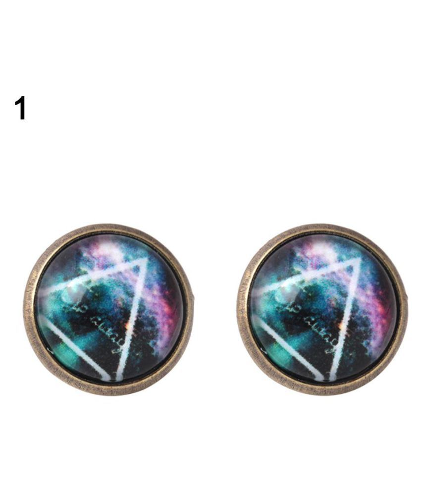 Vintage Women Cosmic Sky Luminous Ear Studs Round Earrings Party Club Jewelry