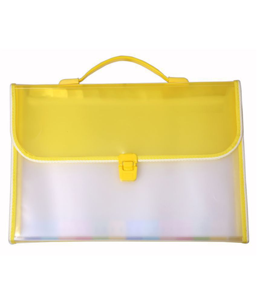 SUMO PRIME Expanding Case File Folder Briefcase Style with Handle (Ideal for Organizing all sorts of Documents, Papers Certificates for Students and Office use) (Size - F/C) (Color - YELLOW)
