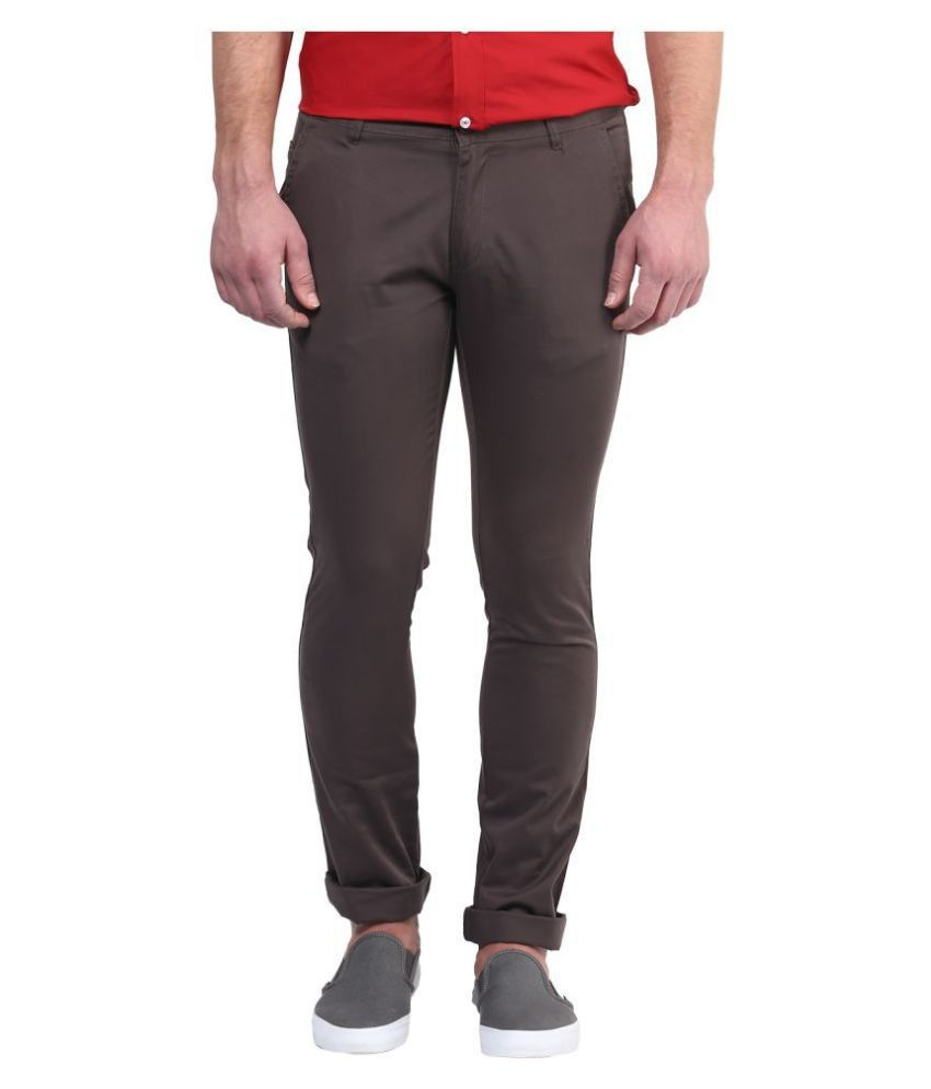 BUKKL Grey Slim -Fit Flat Chinos