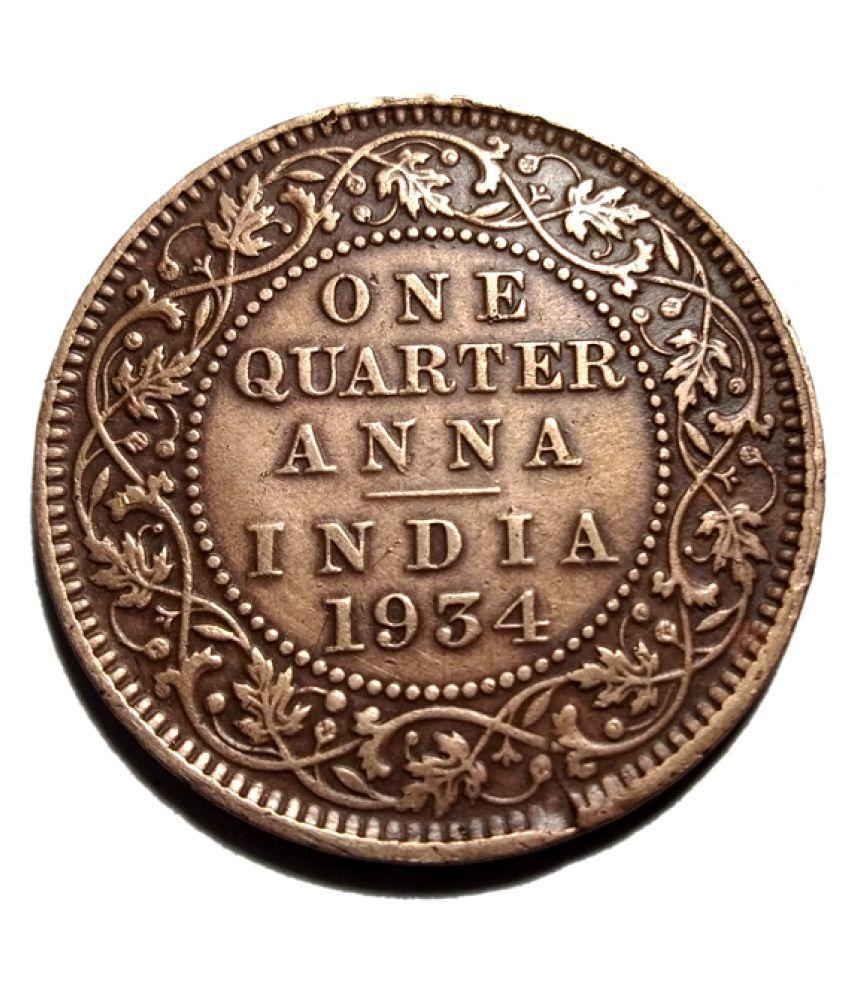 ONE QUARTER ANNA YEAR 1934 GEORGE V KING EMPEROR COIN RARE