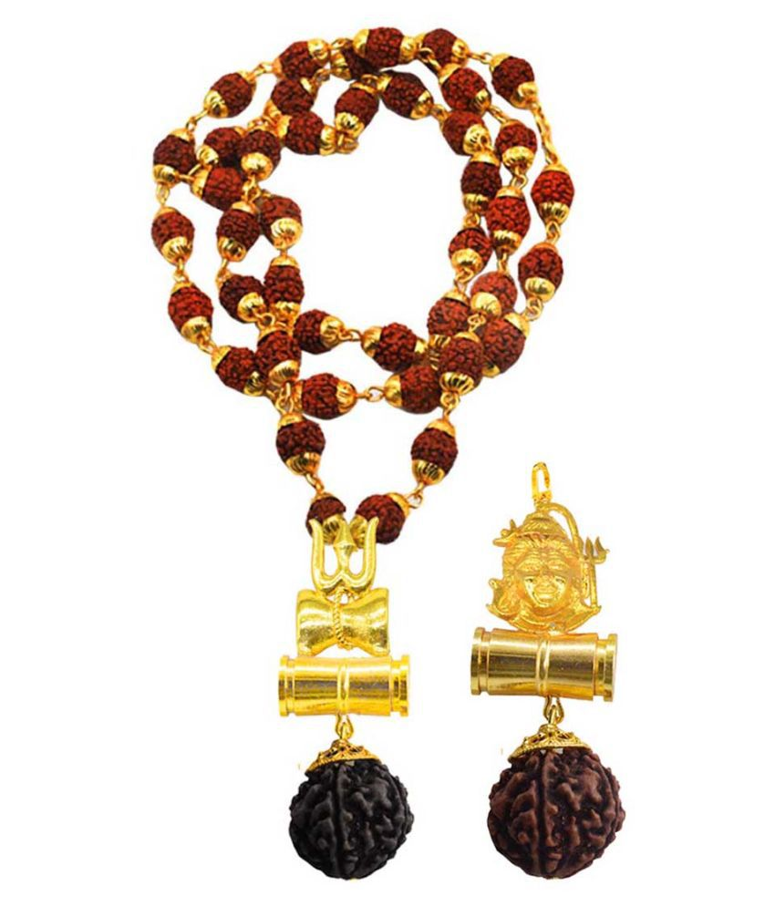 Men Style Religious Jewellery Lord Shiv Trishul Gold Brown Brass Wood Pendant with Rudraksha Mala