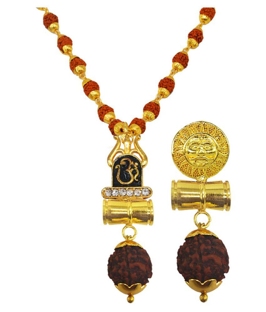 Men Style Religious Jewellery Om Trishul Suryadev Gold Brown Brass Wood Pendant with Rudraksha Mala
