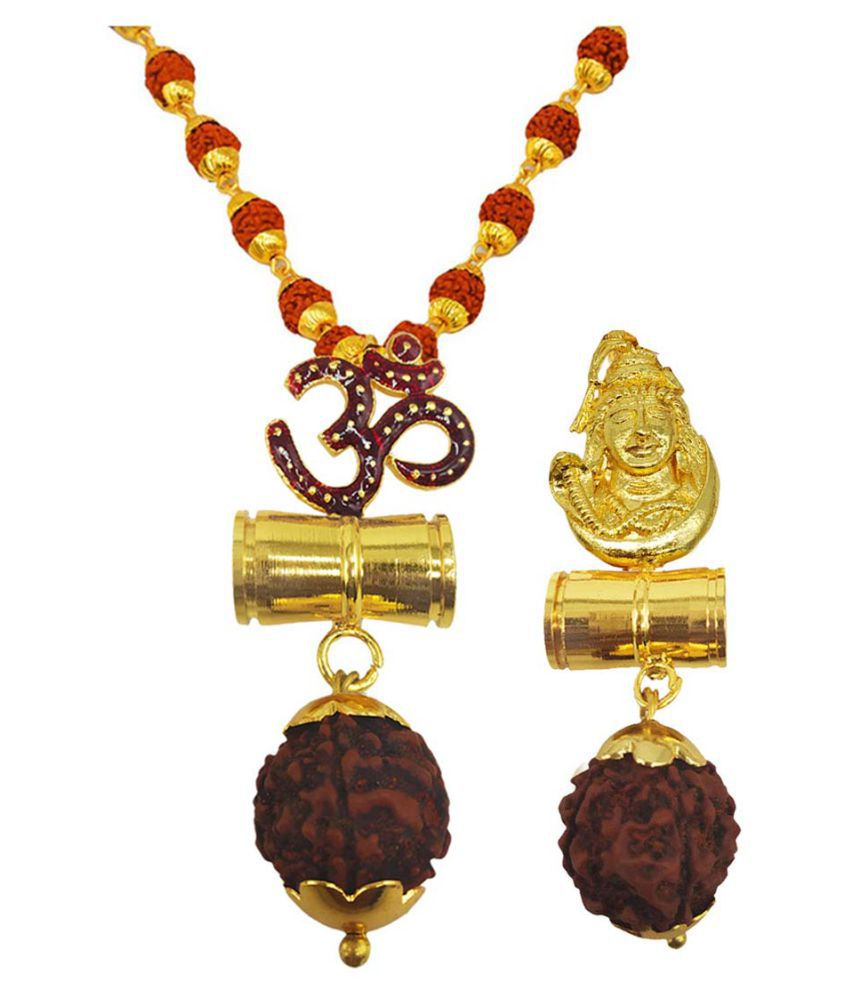 Men Style Religious Jewellery Om Shiv Damru Gold Brown Brass Wood Pendant with Rudraksha Mala