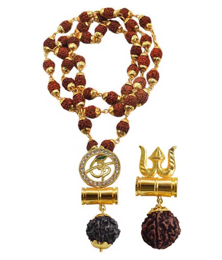 Men Style Religious Jewellery Om Trishul Damru Gold Brown Brass Wood Pendant with Rudraksha Mala