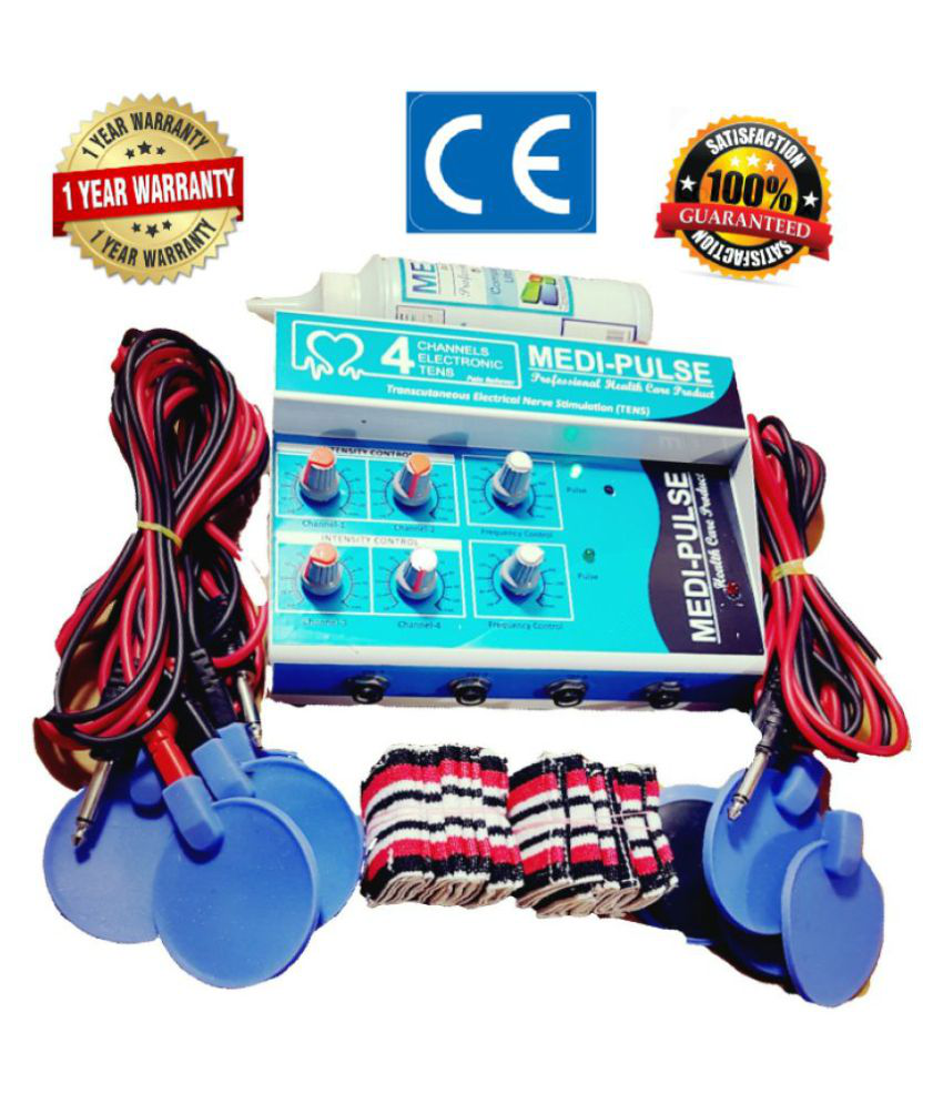MEDI-PLUSE BODY MASSAGER 4 CHANNEL TENS BLUE WITH ACCESSORIES HIGH -PERFORMANCE AC/DC