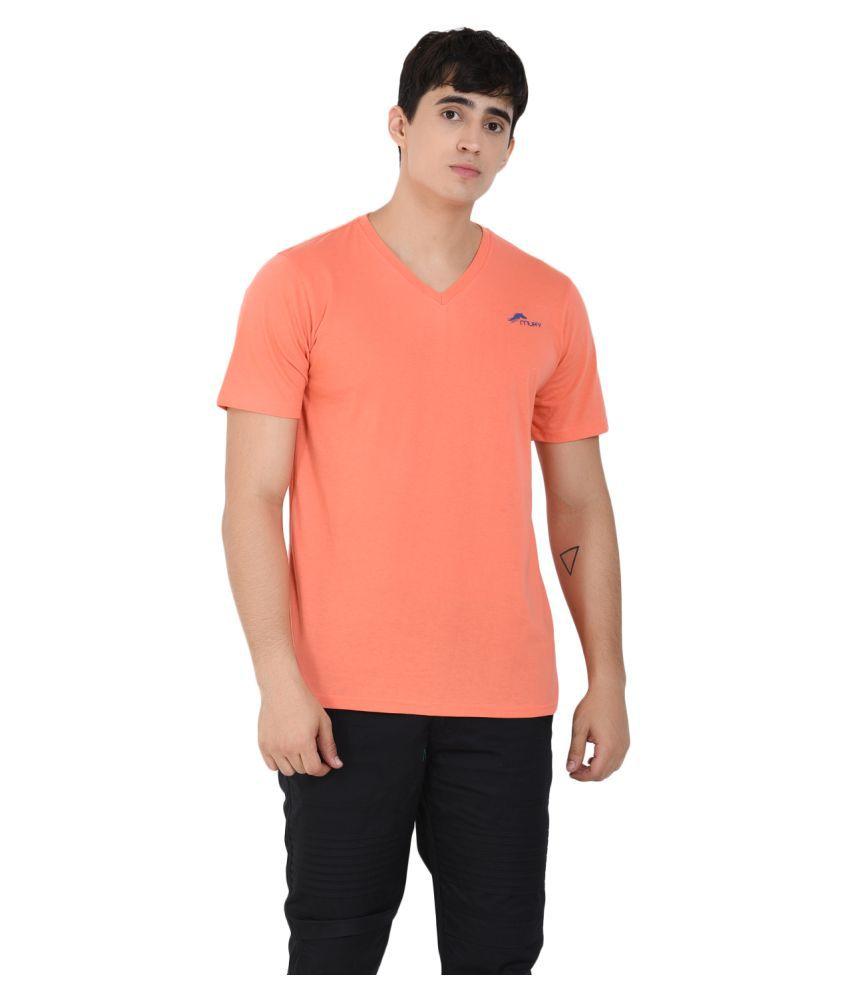 Muffy Polyester Cotton Orange Solids T-Shirt