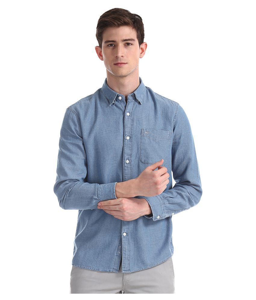 Arrow 100 Percent Cotton Blue Solids Shirt