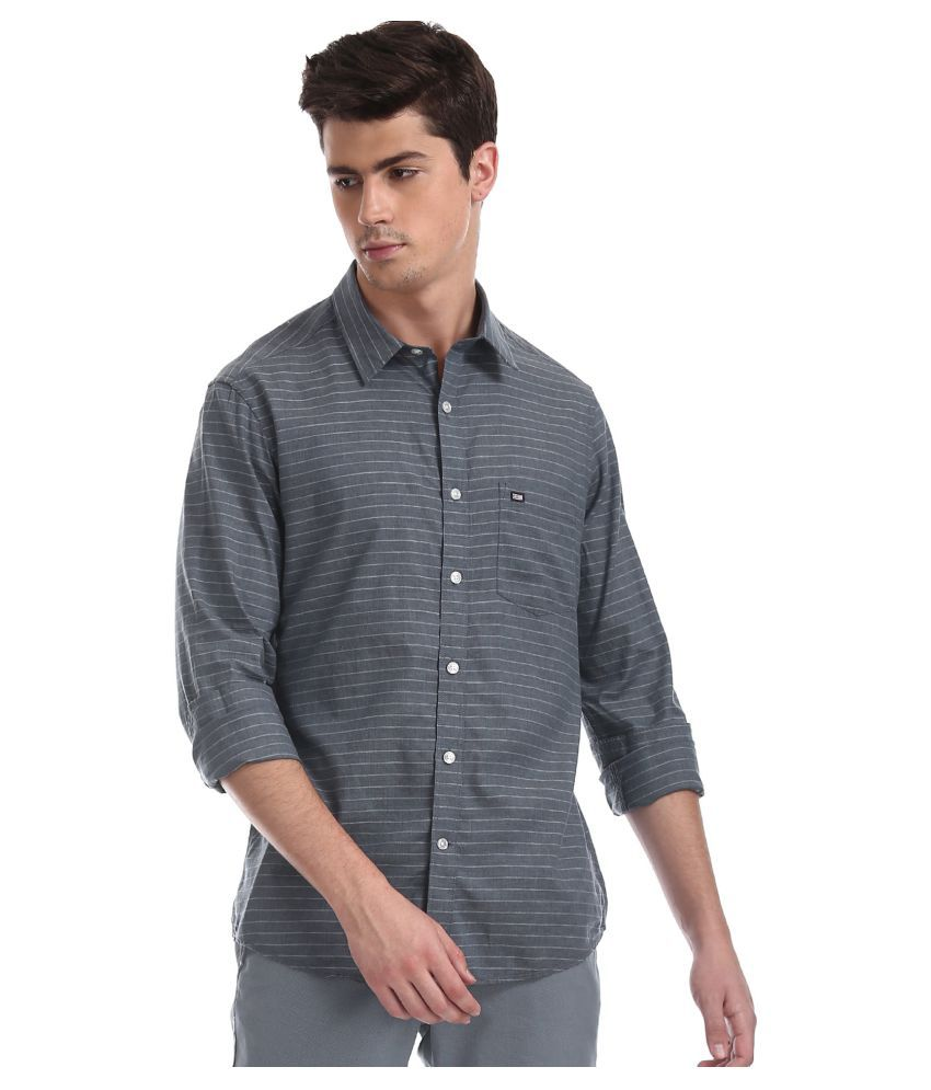 Arrow Cotton Blend Blue Stripes Shirt