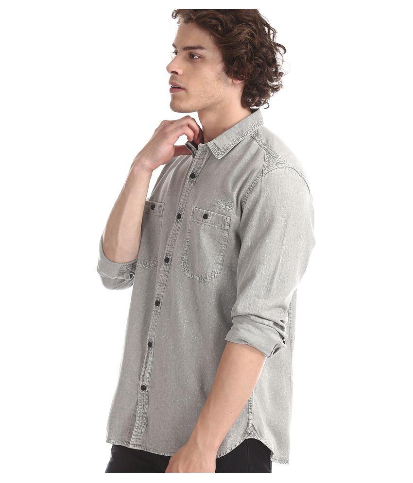 Ed Hardy 100 Percent Cotton Grey Solids Shirt