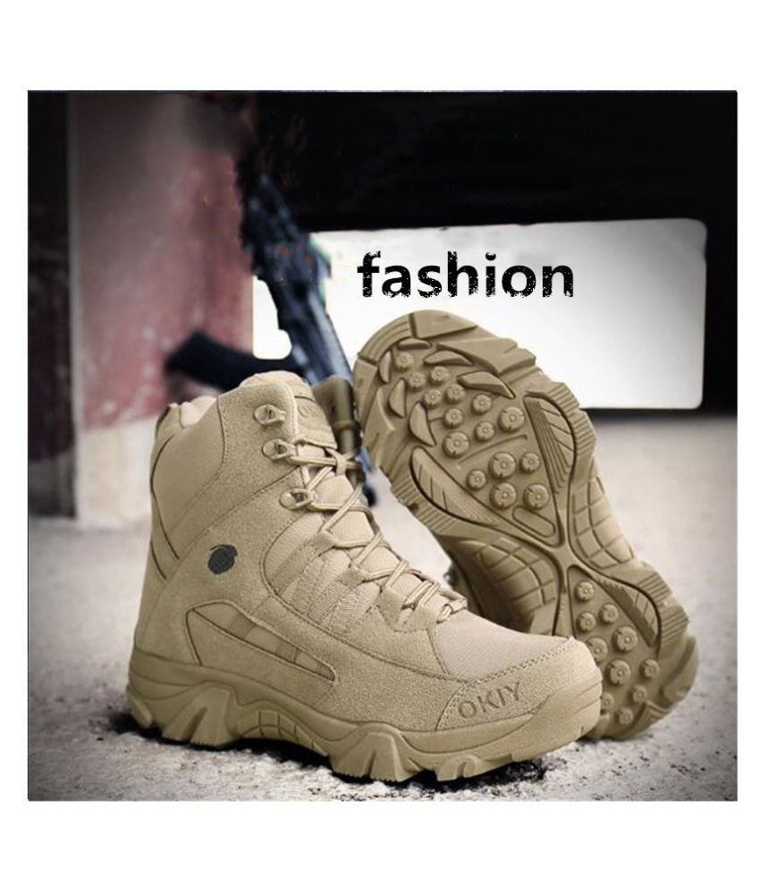 FOSHAN Ankle Boots Khaki Hiking Shoes