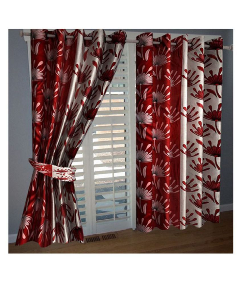 Tanishka Fabs Set of 2 Door Semi-Transparent Eyelet Polyester Curtains Red