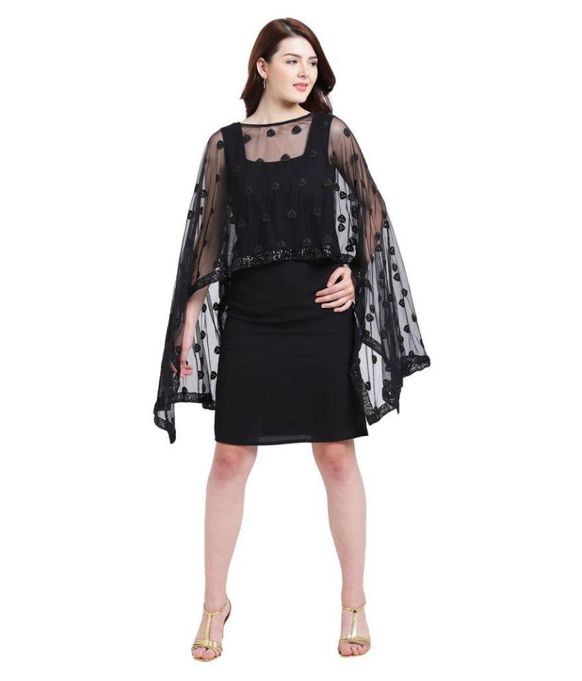Texco Polyester Black A- line Dress