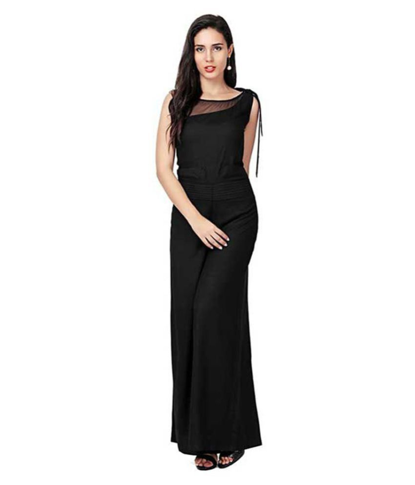 shree wow Black Rayon Jumpsuit