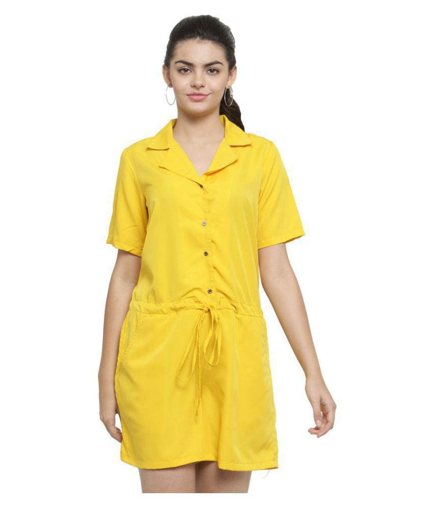 Color Cocktail Yellow Crepe Jumpsuit