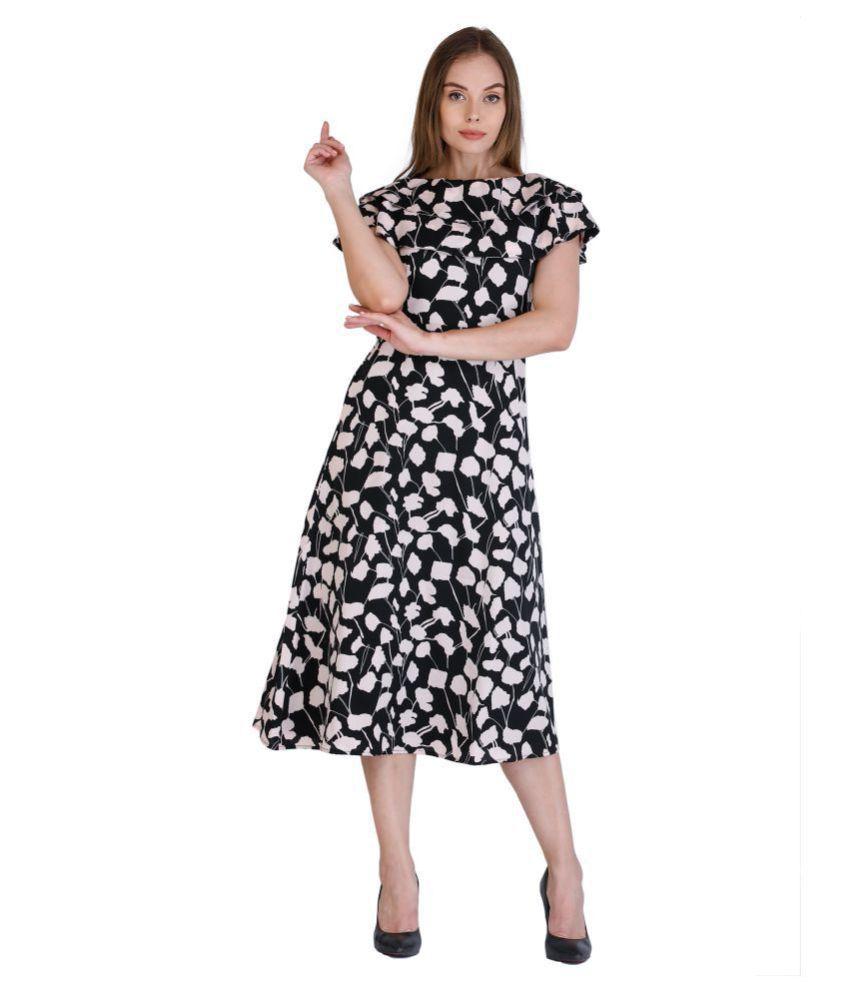 Cottinfab Crepe Black A- line Dress