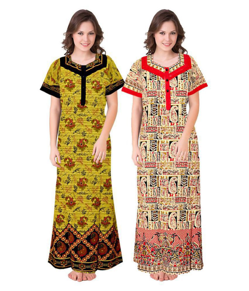 Mudrika Cotton Nighty & Night Gowns - Multi Color