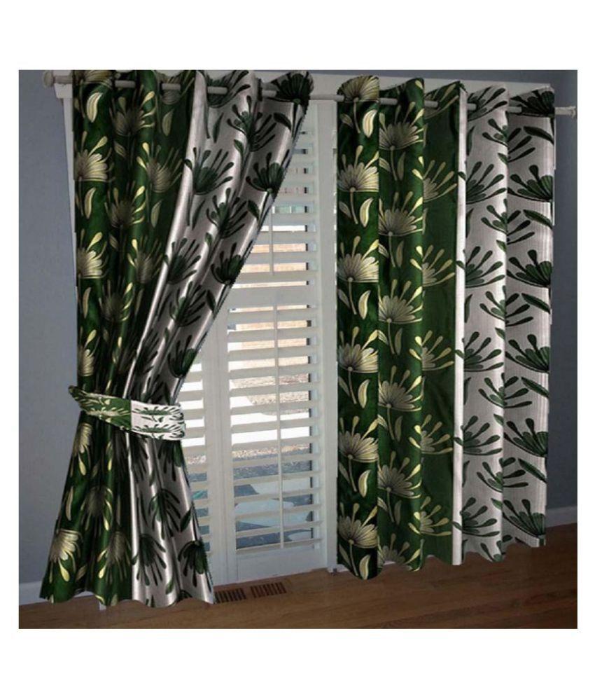 Tanishka Fabs Set of 2 Door Semi-Transparent Eyelet Polyester Curtains Green