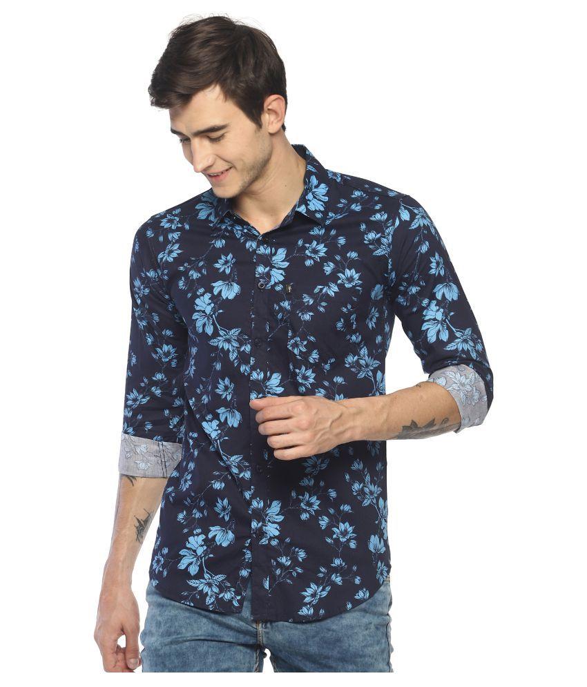 Levizo 100 Percent Cotton Blue Prints Shirt