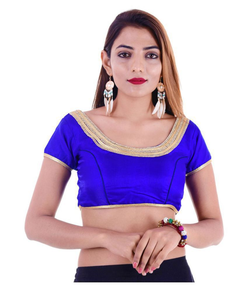 ADABHUT Blue Silk Readymade with Pad Blouse