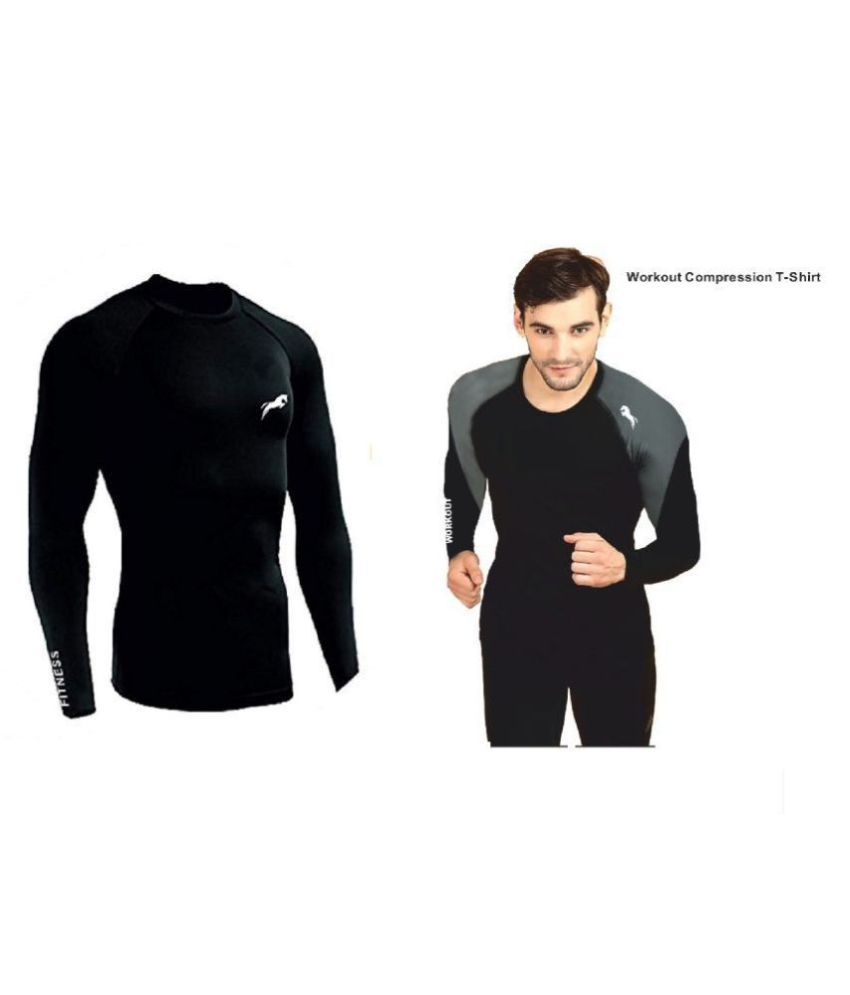 Just Rider Unisex 100% Polyester Compression T-Shirt Top Full Sleeve Plain Athletic Fit Multi Sports Cycling, Cricket, Football, Badminton, Gym, Fitness & Other Outdoor Inner Wear
