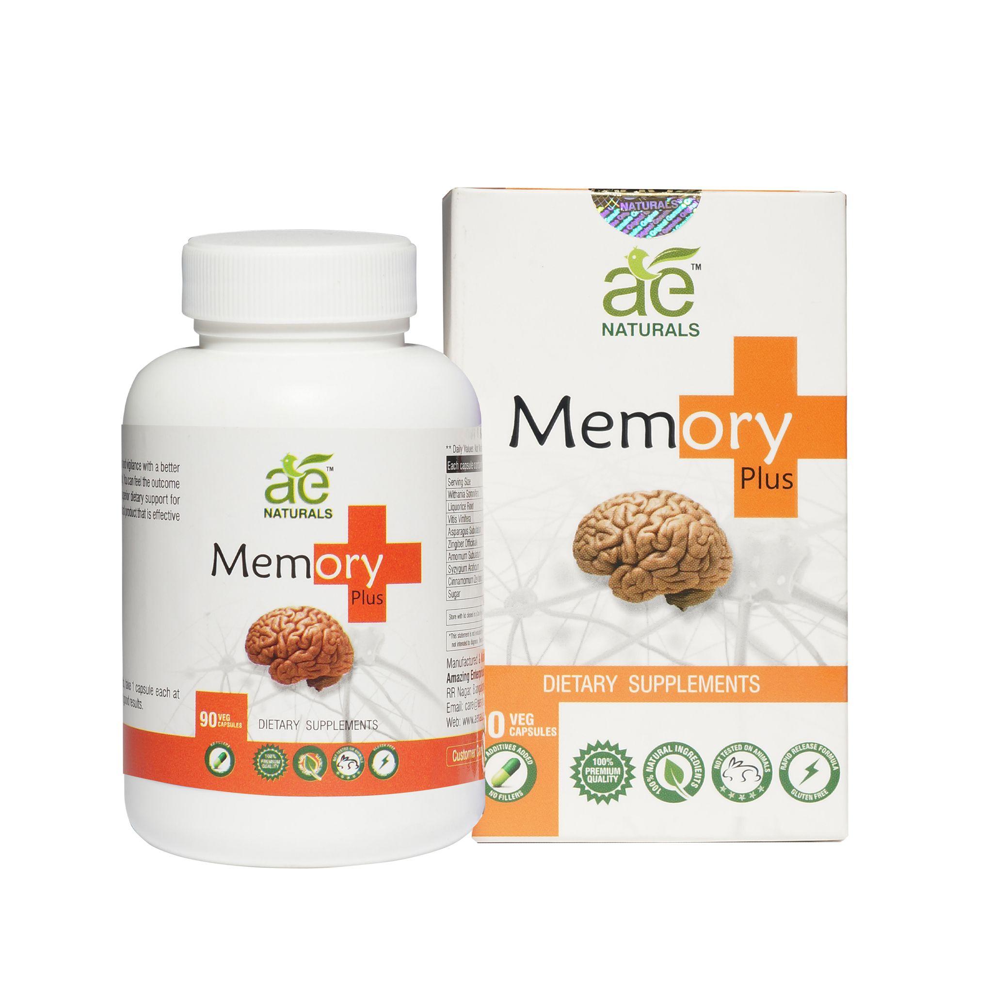 AE Naturals memory Plus Capsules Herbal Suppliment 90 Veg Caps Health Drink 90 gm