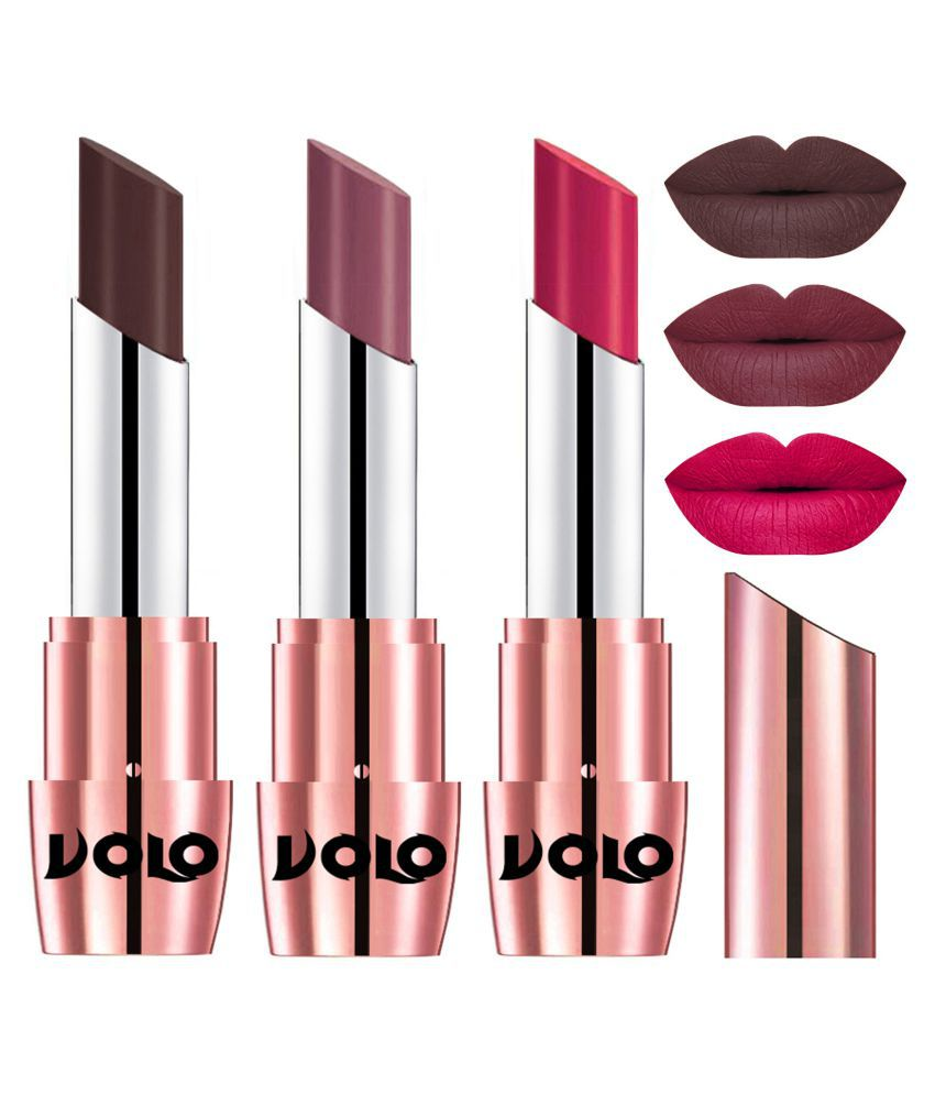 VOLO Perfect Creamy with Matte Lipstick Chocolate,Plum, Pink Pack of 3 10 g