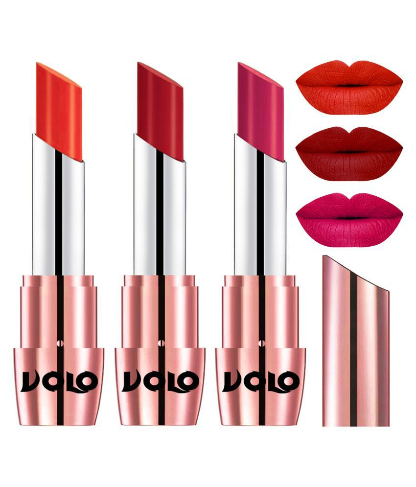 VOLO Perfect Creamy with Matte Lipstick Coral,Tomato Red, Pink Pack of 3 10 g